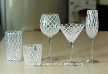 white grid lines wine glass set