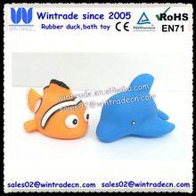 Bath clown fish & rubber dolphin 2pcs