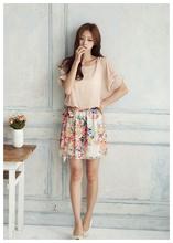 High Quality! 2014 New Women's Summer Dress Charming Crewneck Chiffon Short Batwing Sleeve Floral Casual Dress G0532