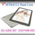 9 polegadas tablet pc tablet pc mtk8312 dual core android, dual câmera 3g+gps+bt, android tablet 4.2