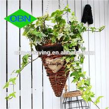 Hot sale wicker decor wholesale rattan flower basket hanging basket