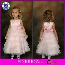 EDW567 Hot Sale Pink Appliqued Flower Tiered Tulle Baby Handmade Wedding Dress