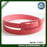 Lady Skinny Pink Belt Dress Pin Rectangle Buckle