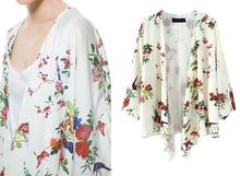 Summer Spring Long Sleeve Cardigan Floral Print Woman European Chiffon Kimono Blouse SV005962