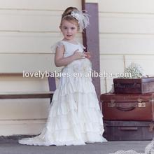 Newest Newborn solid cream flower girl dress patterns flower girl dress patterns fashion design small girls dress kids clothes