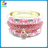 Artificial gold chain bracelet pink enamel thin solid gold metal 18k gold bracelet