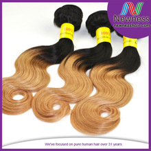 single braid hair fashionable three tone ombre brazilian hair weave wet and wavy