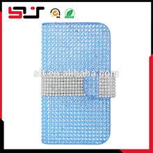 Fashion design flip diamond bling leather case for samsung galaxy s4 i9500