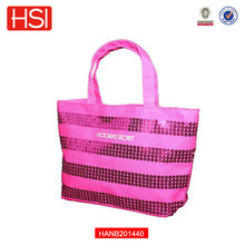2015 High Quality Canvas Bling Sequins Hot Pink Tote Ladies Handbag