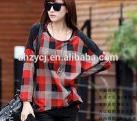 Latest ladies t shirts fashion plaid tops long sleeve spring/autumn Korea women casual blouse