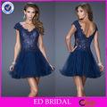 diseñador de nc351 sexy baja de la espalda de encaje azul marino de cóctel corto vestido para la fiesta