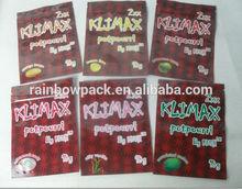Newest klimax herbal incense bags/10g apple/lemon/strawberry flavors 2xx klimax popular sachets