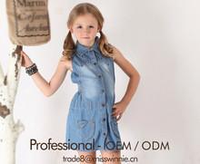 new design lovely children's summer dress girls denim dress