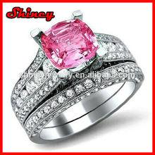 925 sterling silver fashion trendy bling diamond ring set for engagement wedding,pair wedding ring