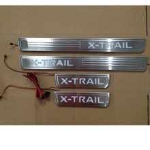 high quality STAINLESS STEEL illuminated Protector Panel LED Door Sill Scuff Plate for nissan x-trail 2014