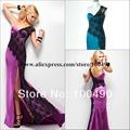 P2612 illusione sirena pavone pizzo crea l'elegante e una spalla sexy manica abiti da ballo 2014