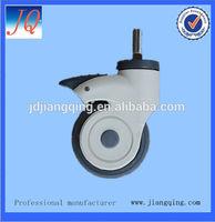 100mm Medical caster, Nylon yoke caster with TPR wheel PP center, ball bearing with brake