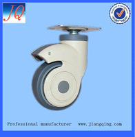 75mm Medical caster, Nylon yoke caster with TPR wheel PP center, with top plate , with brake