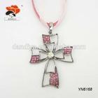 Two-layer New Hot Jewelry Design,Pink Rhinestone Female Decorative Cross Necklace
