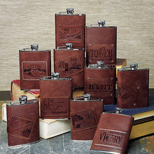 Leather Wrapped Stainless Hip Flask - 11 Designs