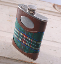 Personalized Green Plaid 8 ounce Flask