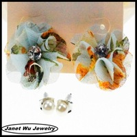 2014 hot seeling plating jewelry fabric flower stud earrings
