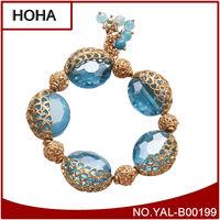 High Quality Rose Gold And Sky Blue Rhinestone Crystal Ball Beads Shamballa Bracelet