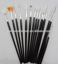 black 15pcs nail art brush set
