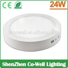 Round high brightness surface 24w led light panel diy