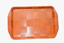 Woven Bronzing Rectangle Carrying Tray with Handle for Family,coffee and food