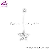 Pregnancy piercing jewellery in Bioflex navel banana ring with star clear gem