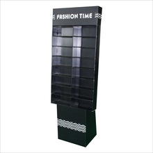 Black cardboard flooring display rack for cell phones/power bank/toys in showroom/exhibition/retail stores/supermarket