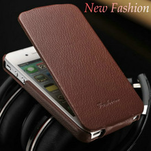 Genuine leather flip cell phone cover case for Iphone 5 5S mobile phone
