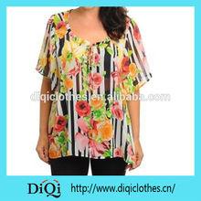 الشيفون المطبوع الملابس كبيرة الحجم الصيف 2015 لامرأة تبلغ من العمر