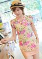 Venda quente blusa novo fresco de verão de manga puff flores impressão camisa de chiffon, blusa de manga curta feminina verão 2014
