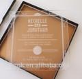De encargo del diseño claro de acrílico pantalla de seda de la boda tarjeta de invitación regalo caliente venta