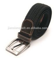 wholesale customized 2014 mens braided elastic belt mens woven elastic cotton canvas leather stretch blet hemp belt