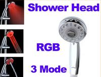 Adjustable 3 Mode LED Shower Head Sprinkler Temperature Sensor RGB Color Changing Ducha Rain Showers Heads Base Power Set