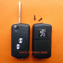 High Quality&Best Price Peugoet 2 button flip remote key blank with HU83-407 key blade ,car key shell,key case