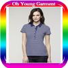 Custom Ladies Fashion Polo Shirt Women's Short Sleeve Stripe Polo Shirt High Quality Cotton Cheap Women Polo Shirt