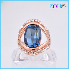 Yiwu factory direct sexy kiss ring with blue stone ZHJZ-079