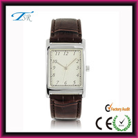 Stainless steel case back watch,classic leather watch