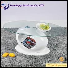 ring shape fiber glass frame oval glass coffee table