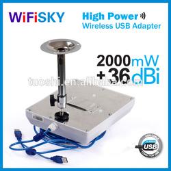 Outdoor wireless usb adapter,wifi receiver,2km distance,36dbi antenna,high power 2000mW,Ralink 3070