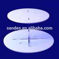 Funny Decorative Transparent Crossed Pillar White Removable Circle Acrylic Wedding Cake Holder