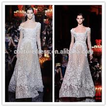 Sexy boutique dresses noble bateau floor length long sleeve with sash Elie Saab evening dress 2014 AEM-084 summer dress