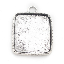 L0605035 44.4*34.5mm( Inner 33x30mm) Rectangle Alloy Pendant Base Setting Trays,Antique Silver Blank Cabochon Cameo Setting