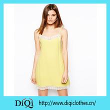 Short Knee Length yellow spaghetti strap dress for summer