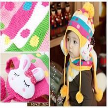 Children's Rabbit knitted cap Baby hat rabbit ear muff hat Hat + scarf
