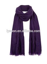 acrylic Purple Fringe Hem Longline Scarf
